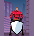 superhero holding shield in city vertical vector image vector image