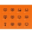 TV icons on orange background vector image vector image