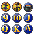 Witch and letters on round badges vector image vector image