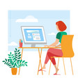 young woman is working outsourced vector image vector image