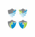 people shield logo template vector image