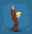 businessman carry stack of bitcoin coins vector image