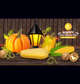 autumn harvest on wooden background fresh vector image vector image