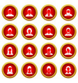 avatars set icon red circle set vector image vector image