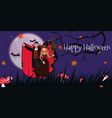 banner with vampire and witch vector image