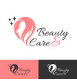 beauty care logo design vector image vector image