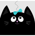 Black cat head looking at blue bow hanging on vector image