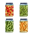 Bright Canned Pickled Vegetables Collection vector image vector image
