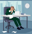 businessman grabbed his head in despair in office vector image vector image