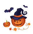 carved halloween pumpkin wearing a pointed witch vector image