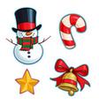 christmas cartoon icon set - snowman candy cane vector image