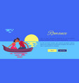 couple in love swims on purple canoe and kisses vector image vector image
