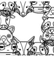 cute heads of wilds animals background vector image vector image