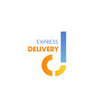 express delivery service letter d icon vector image vector image