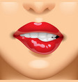 female red lips on the face vector image vector image