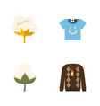 flat icon fiber set of blouse flower cotton and vector image vector image