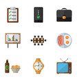 flat icon oneday set of whiteboard television vector image vector image