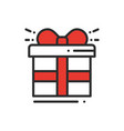 gift box with ribbon line icon present giftbox vector image vector image