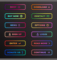 gradient button set website colorful banner vector image