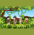group of hiking kids vector image vector image