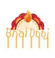 happy bhai dooj lettering floral decoration vector image vector image