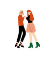 happy lesbian female couple girls looking at each vector image vector image