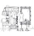 interior with women wardrobe vector image vector image