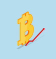 isometric bitcoin icon vector image vector image