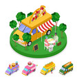 isometric street food pizza truck with people vector image vector image