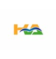 KA negative space letter logo blue vector image vector image
