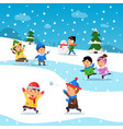 kids winter playing funny smile happiness vector image vector image