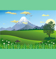 landscape - mountain range on the horizon tree in vector image