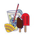 lemonade with popsicle ice cream and shell vector image vector image