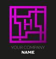 letter h symbol in colorful square maze vector image