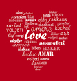 Love heart calligraphy word vector image vector image