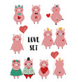 love set with funny pig vector image vector image