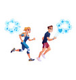 man woman running with smart watch health tracker vector image