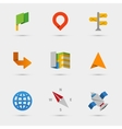 Map location and navigation icons in flat paper vector image