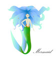 mermaid with blue hair on white background vector image