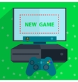 Modern game console green background vector image vector image