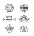 pet shop badges or labels line art set vector image vector image