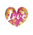 pink yellow love text in paper cut layered heart vector image