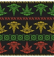 Pixel art game style rasta weed leaf seamless vector image vector image