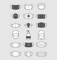 pollution mask symbols medical protection icon vector image