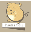 retro style hand drawn hamster with polka dots vector image