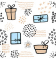 seamless pattern with cute gift box hand drawn vector image