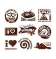 Set chocolate logos and labels vector image