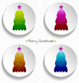 set of colorful Christmas trees with a polygonal vector image