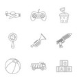 toy icon set outline style vector image vector image