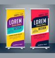 trendy roll up standee banner template design vector image vector image